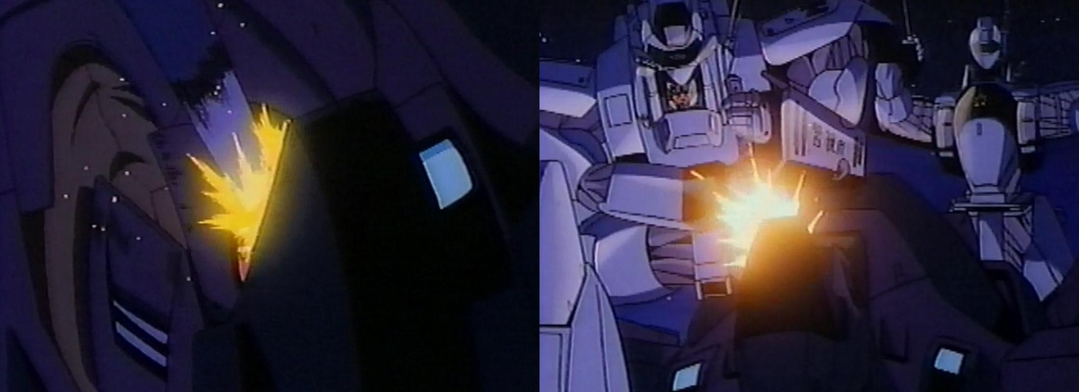 イングラム2号機が電磁警棒でサターンを攻撃